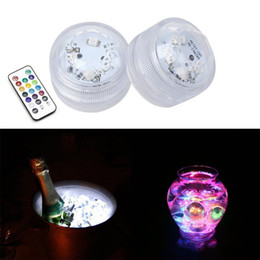 Wholesale Warm White Submersible Led Light - Remote controller rgb white red green blue yellow warm white colors underwater led tea lights DC3V IP68 submersible night lights