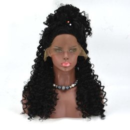 Wholesale Good Synthetic Lace Front Wigs - Afro Kinky Curly Wig Synthetic Lace Front Wig for Black Women Kinky Curly Synthetic Wig Heat Resistent Cheap Good High Quality