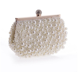 Wholesale Silver Ring Pillow - Pearls Women Evening Bags Rhinetones Pearl Wedding Clutches Finger Ring Diamonds Small Purse Handbags