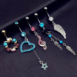 Wholesale vintage turquoise gold ring - 5pcs mix style vintage blue Turquoise wings note star bow long dangle navel belly bar button rings body piercing jewelry