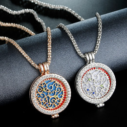 Wholesale Heart Shaped Floating Charms - 2018 Hot Floating Locket Charms Necklaces Essential Oil Diffuser Necklaces Diamond Locket Chain Hollow Out Heart Shape Censer Chain Jewelry
