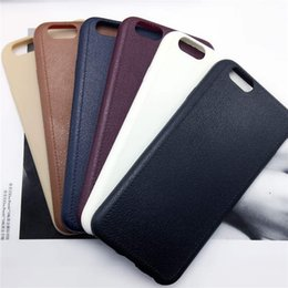Wholesale Silm Phone - Luxury Leather Pattern Texture Phone Case Ultrathin Silm Soft TPU Comfort Back Cases Cover for Iphone 7 6 6s plus 5 5s SE