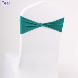 Wholesale Spandex Chair Ties - Teal colour spandex sashes lycra sash for chair cover spandex bands bow tie For Wedding Decoration banquet design for sale