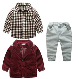 Wholesale 3pcs Boy Shirt Pant Jacket - Boys clothes jeans wear clothes kids suits children boys jacket+plaid shirt+denim pants 3pcs Clothing Set 5s l