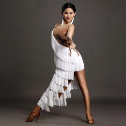 Wholesale Diamond Dancewear - High-grade diamond tassel Latin dance dress of women on the Sasa ballroom Rumba Samba backless costume competition dancewear dress