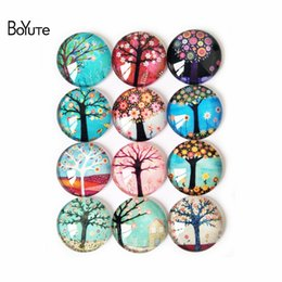 Wholesale Glass Making Supplies - BoYuTe Cabochon Supplies for Jewelry Making 10 Sizes Mix Image Round Transparent Glass Cabochon Wishing Tree