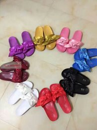 Wholesale Banana Boxes - New Rihanna Leadcat X Fenty Banana Slide Bow Sandals,Women Classical Slippers Black Burgundy Red Purple Blue White Pink With Box Dustbag