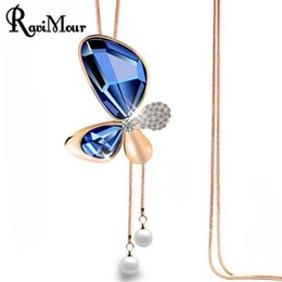 Wholesale Imitated Rhinestone - RAVIMOUR Butterfly Maxi Necklace Women Fashion Imitated Pearl Jewelry Statement Necklaces & Pendants Crystal Gold Long Necklace