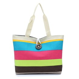 Wholesale Colored Zipper Bags - Wholesale- Indira 2017 New Fashion Women Lady Colored stripes Shopping Bag Canvas Bags Purse Freeshipping & Wholesale