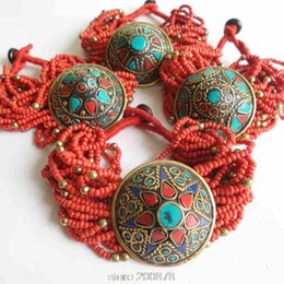 Wholesale Bb Bracelet Gold - BB-487 Tibetan Jewelry Red mini Beaded Charm Bracelets Nepal Vintage Handamde Ethnic jewelry