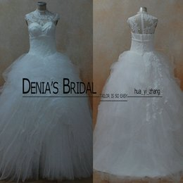 Wholesale Multi Layer Skirt - Real Images Ball Gowns 2016 Designer Bridal Gowns Multi Layers Skirt White Wedding Dresses With High Neck and Sheer Bodice and Ruffled Skirt