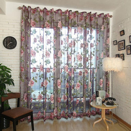 Wholesale Fabric Windows - Home Textile Flower Embroidered luxury 3D Voile Curtains fabric Tulle Sheer Curtains For Kitchen Bedroom Living Room