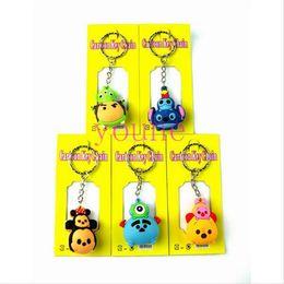 Wholesale 3d Pvc Keychain - Mixed 40pcs Animal Head TSUM Tsum 3D Keychain Fashion Key Ring Pendant Figure Model Accessories Xmas Gifts Free Shipping