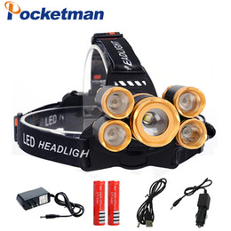 Wholesale Emergency Headlights - CREE T6+4*XPE led headlamp 18650 Battery USB charger headlight 20000 lumens led head lamp hike emergency light fishing outdoor