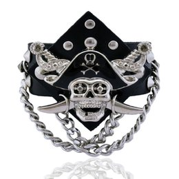 Wholesale Mens Wide Stainless Steel Bracelets - Retro Pirates Of The Caribbean Wide Bracelet Vintage Women Mens Genuine Leather Skull Rivet Wide Adjustable Bangle Bracelet Male Jewelry