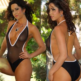 Wholesale Transparent Piece Bikini - New Sexy Women Mesh See Through High Cut Bodysuit Thong One Piece Swimsuit Mesh Transparent Brazilian Black Swimwear