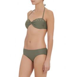 Wholesale Two Piece Bikini Bandeau - Women's Fashion Bikinis Bandeau Twist Style Beachwear Sexy Cool Refreshing Pure Colour Nylon Two-Piece Suits Summer Wear Swimsuit