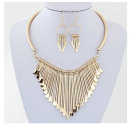 Wholesale Tassel Necklaces China Wholesale - 100%Metal Earrings Necklace Set For Women Simple Alloy Tassel Short Necklaces Lady Party Jewelry Accessories Gold Silver Pendant Necklace