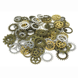 Wholesale Diy Mix Bronze Charm - Wholesale 1000pcs Gold silver vintage bronze Mix retro steampunk gears jewelry charms pendant steampunk gears for DIY necklace