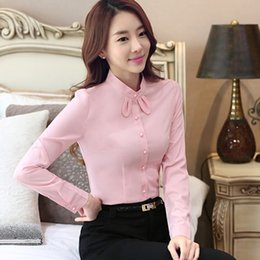 Wholesale Office Wear Tops Blouses - Elegant ladies long-sleeve shirt bow tie chiffon women blouse work wear formal office plus size top