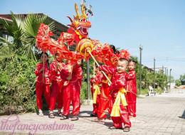 Wholesale Costume Chinese Dance - New loong costume children size red silk print fabric CHINESE Kid DRAGON DANCE Folk Festival Celebration Costume dragon mascot costume