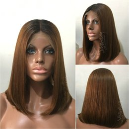 Canada Bob Two Tone 1B # 30 Ombre cheveux humains Lace Front perruque courte Bob Brown Full Lace perruque pour les femmes noires cheap two toned straight full lace Offre