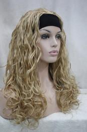 Nuevas pelucas doradas online-Hivision Nueva encantadora moda saludable dorado rubia ondulado rizado peluca 3/4 con media peluca de mujer sintética diadema