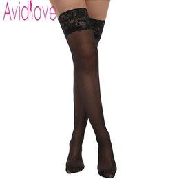 Wholesale Girl Scoks - Wholesale- Avidlove Women Silk Reflections Scoks Sexy Lace Top Thigh High Stockings Fashion Girls Lady Over Knee Socks Long Stockings U2