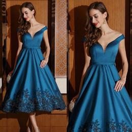 Wholesale Tea Length Sparkle Dress - Elegant Navy Blue Prom Dresses Satin Appliqued Tea Length Party Cocktail Gowns Custom Sparkling Beads A Line Evening Dress