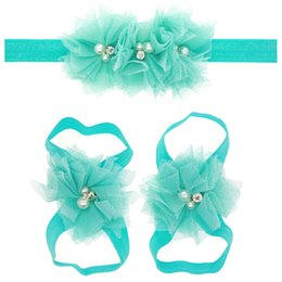 Wholesale Baby Matching Sandals - Wholesale- Cute Toddle Infant Baby Girls Lace Hair Band Matching Barefoot Sandals Foot Flower Pearl Drill Headband Tiara Beach Summer 2016