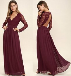 Wholesale T Shirt Ruffle Skirt - 2018 Burgundy Lace Bodice Chiffon Skirt Burgundy Bridesmaid Dresses Illusion Long Sleeves Junior Wedding Party Bridesmaids Dress Cheap