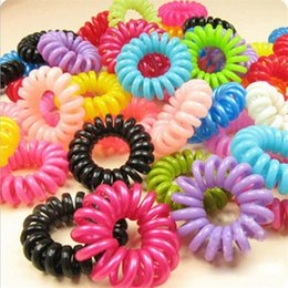 Wholesale Plastic Hair Band For Girl - Wholesale- 20pcs lot Telephone Wire Line Cord Invisi Traceless Hair Ring Gum Colored Elastic Hair Band For Girl Hair Scrunchy Children's