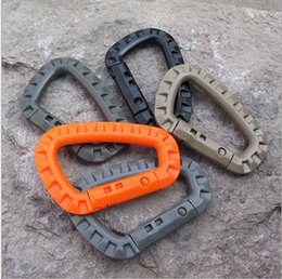 Wholesale D Ring Climbing Carabiner - DHL D Shape 200LB Mountaineering Buckle Snap Clip Plastic Steel Climbing EDC Backpack Hook Carabiner D-Ring lock Tactical Molle Quickdraw