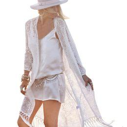 Argentina Al por mayor-Mujeres de encaje de encaje largo Kimono Cardigan Tops 2017 Sexy Bikini Cover Ups cheap wholesale kimono lace Suministro