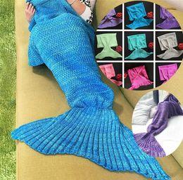 Wholesale Super Soft Bedding - New Mermaid Tail Blanket 140*70cm Adult Soft Super Warm Sofa Blanket 10 colors Sleeping Bag Kids Bedding Wrap 10pcs 4624