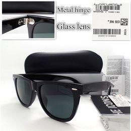 Wholesale Hinge Boxes - AAAA+ quality Glass lens Metal hinge Brand Designer Fashion Men Women Plank frame Sunglasses UV400 Sport Vintage Sun glasses With box