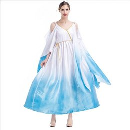 Wholesale Women Cleopatra Costume - New Arrival Luxury Greek Goddess Long Dress By DHL White Blue Sexy Cosplay Halloween Cleopatra Theme Party Costumes Hot Selling