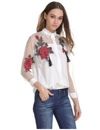 cbadca08f4be6 NEW ARRIVAL WOMEN TURN DOWN COLLAR EURO FASHION EMBORIDERY FLOWERS ORGANZA  COTTON WOMEN S BLOUSE LADY ELEGANT CASUAL SHIRT   BLOUSE