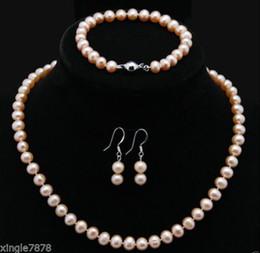 "Wholesale Cultured Pearl Necklace Set - Free Shipping ****Natural 9-10MM Pink Akoya Cultured Pearl Necklace 18"" Bracelet Earrings Set"
