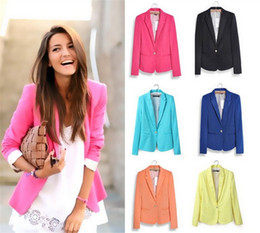 Colorati colorati online-Fashion Women Working Suit OL Blazer Celebrity Style Donna Candy Colorato Boyfriend Blazer Giacca da donna Suit Blazer