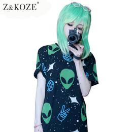 Wholesale alien top - Z&KOZE 2016 Alien printing t shirt poleras de mujer top tee O-neck summer camisetas vetements femme harajuku women tees q170691