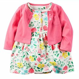 Wholesale Toddler Girls Dress Spring Coats - Baby Flower Print Dress Fuchsia Color Coat Newborn Infant Toddler Girls' Clothing Set Boutique Girls Outfit