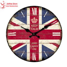 Wholesale Uk Room Decor - Wholesale- Vintage Decorative Wall Clocks Roman Numera UK Flags Creative Shabby Chic Home Decor Living Room Wall Watches relogio de parede
