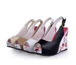 Wholesale High Heels Sexy Size 41 - beautiful fashion Sexy new wedge sandals shoes women high heels shoes open toe platform buckle women summer shoes 4 colors big size 35-41