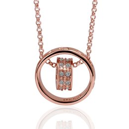 Wholesale Hanging Christmas Charms - Hot sale women's Hanging ring 18k gold jewelry pendant necklace WGN029,A++ Rose gold white gemstone Necklaces with chains