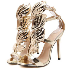 Wholesale Embellished High Heels - Hot Summer Shoes Crystal-Embellished Metallic Leather Wing Sandals Open Toe Strappy Cage Gold Leaf High Heel Sandal Shoes Woman