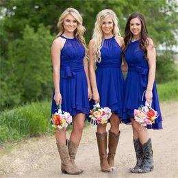 Wholesale Modest Knee Length Dresses - 2017 Modest Short Bridesmaid Dresses Royal Blue Halter Neck Knee Length Ruffle Chiffon Plus Size Country Wedding Party Dresses Cheap