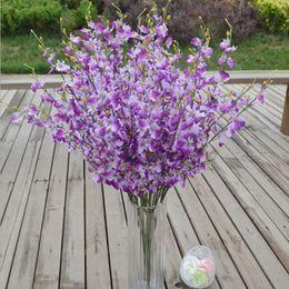decorazione farfalla artificiale Sconti Fiore di seta decorativo Orchidee artificiali Decorazione di bottiglia da pavimento Matrimonio Butterfly Moth Orchid Cattleya per feste Forniture Fiore decorativo