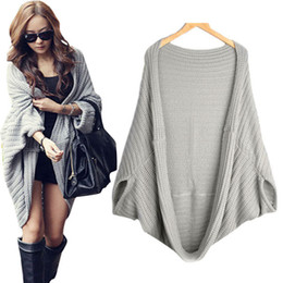 Wholesale Ladies Sweater Shawls - Wholesale-Spring Autumn Plus size cardigan Women Loose Bat sleeve Casual Female ladies cardigan Shawl sweater Free Shipping YA30