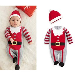 Wholesale Orange Wedding Hats - Kids Christmas Dresses For Baby Siamese Trousers 2017 Children Festival Clothes Christmas Dress +Hat 2 Pieces Christmas Dresses For Toddlers